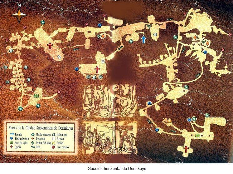 plano derinkuyu ciudad subterranea capadocia turquia